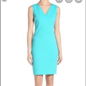 T Tahari Lorna Sheath Turquoise Dress sz14